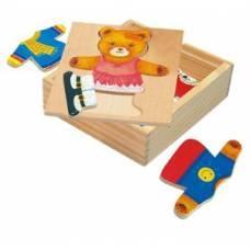 Деревянная игрушка Набор вкладышей Медвежонок-девочка BINO 88048
