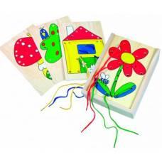 Деревянная игрушка Набор шнуровок в коробке 4 в 1 BINO 88049