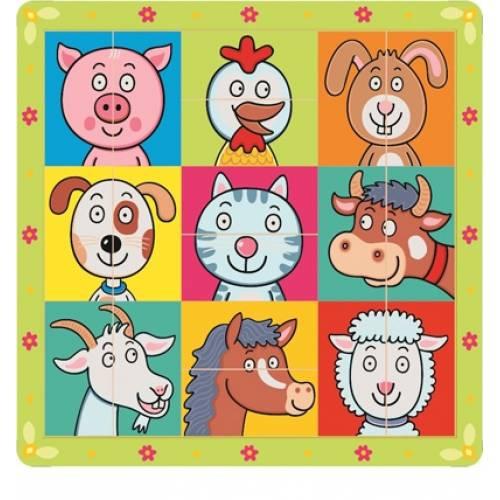 Деревянная игрушка Пазл Сложи голову животным BINO 88093