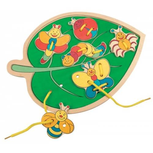 Деревянная игрушка Шнуровка Листик с бабочками Filino BINO 88095