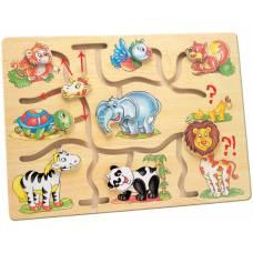 Деревянная игрушка Бродилка «Подбери голову животным Африка» BINO 88096