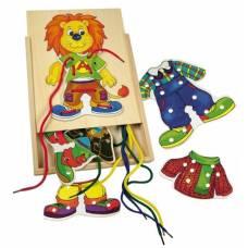 Деревянная игрушка Шнуровка Лев Лео BINO 88102