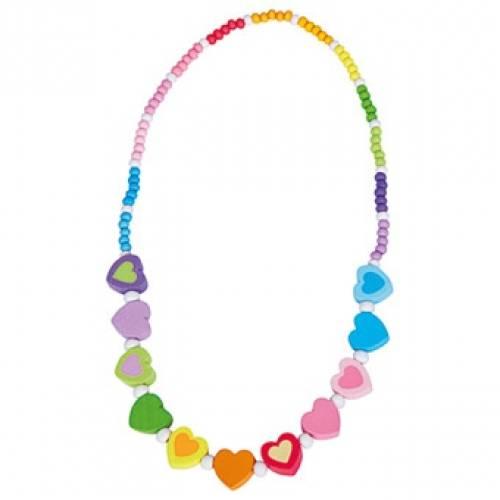 Деревянная игрушка Ожерелье радужное Сердце BINO 89031