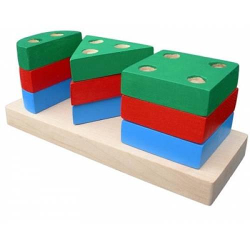 Деревянная игрушка Пирамидка Гео мини 1 KOMAROVTOYS А 309