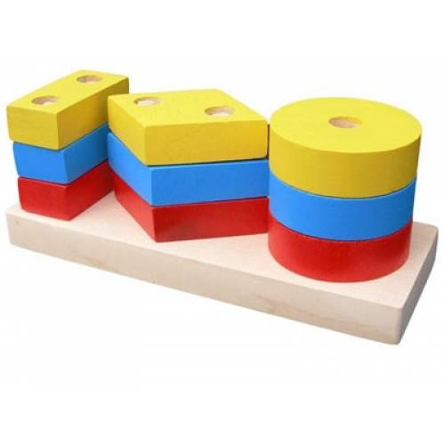 Деревянная игрушка Пирамидка Гео мини 2 KOMAROVTOYS А 310
