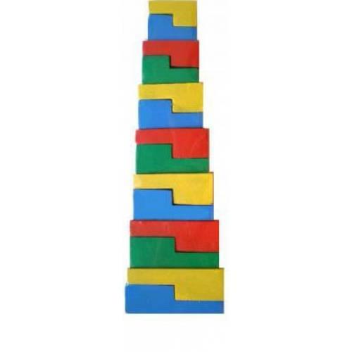 Деревянная игрушка Пирамидка-головоломка 14 эл. KOMAROVTOYS А 334