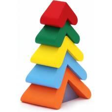 Деревянная игрушка Пирамидка Цветная елочка KOMAROVTOYS А 348
