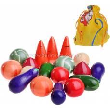 Деревянная игрушка Волшебный мешочек Овощи цветные RNToys Д-361