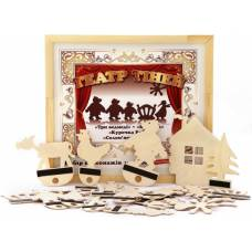Деревянная игрушка Театр теней Три медведя Курочка ряба Колосок Соломенный бычок KOMAROVTOYS Д 701