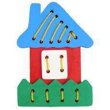 Деревянная игрушка Шнуровка Домик KOMAROVTOYS К 118