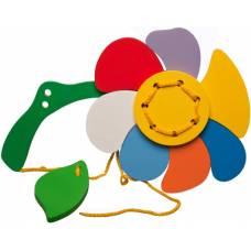 Деревянная игрушка Шнуровка Цветочек KOMAROVTOYS К 122