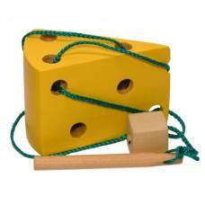 Деревянная игрушка Шнуровка Сыр KOMAROVTOYS К 143