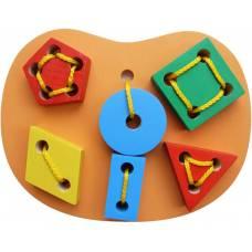 Деревянная игрушка Шнуровка Геометрическая KOMAROVTOYS К 145
