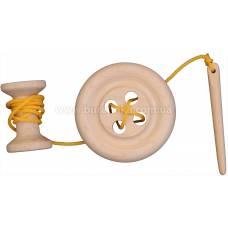 Деревянная игрушка Шнуровка Пуговка с катушкой KOMAROVTOYS К 150