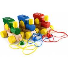Деревянная игрушка Паровоз на веревочке ТАТО кт-001
