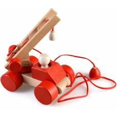 Деревянная игрушка Пожарная машина пирамидка-каталка динамическая ТАТО кт-003