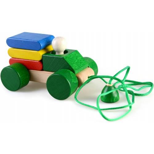 Деревянная игрушка Грузовоз пирамидка-каталка ТАТО кт-006