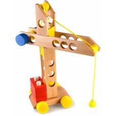 Деревянная игрушка Башенный кран пирамидка-каталка динамическая ТАТО кт-011