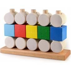 Деревянная игрушка Пирамидка Кубики и цилиндры ТАТО пр-003