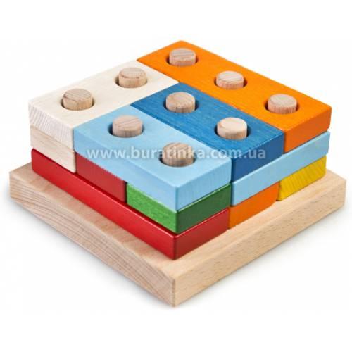 Деревянная игрушка Пирамидка Цветные плашки большие ТАТО пр-004