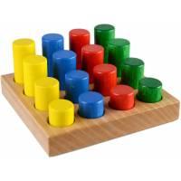 Деревянная игрушка Цветные цилиндры по методике Монтессори ТАТО Срт-002