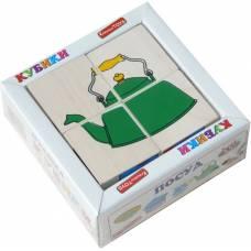 Деревянная игрушка Кубики Сложи рисунок: Посуда KOMAROVTOYS Т 605