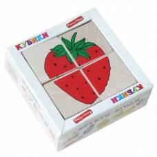 Деревянная игрушка Кубики Сложи рисунок: Фрукты-ягоды KOMAROVTOYS Т 606