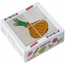 Деревянная игрушка Кубики Сложи рисунок: Овощи KOMAROVTOYS Т 607