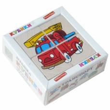 Деревянная игрушка Кубики Сложи рисунок: Транспорт KOMAROVTOYS Т 610