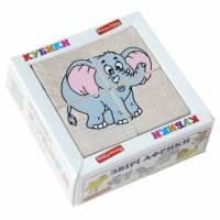 Деревянная игрушка Кубики Сложи рисунок: Животные Африки KOMAROVTOYS Т 611