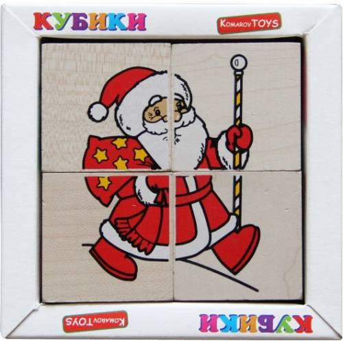 Деревянная игрушка Кубики Сложи рисунок: Новый год KOMAROVTOYS Т 612