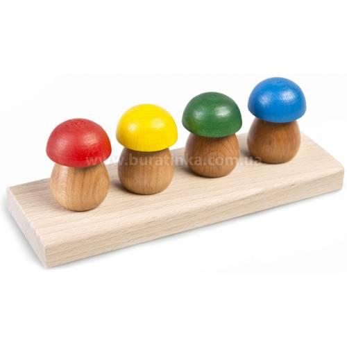 Деревянная игрушка Вставки Четыре грибочка ТАТО вк-002
