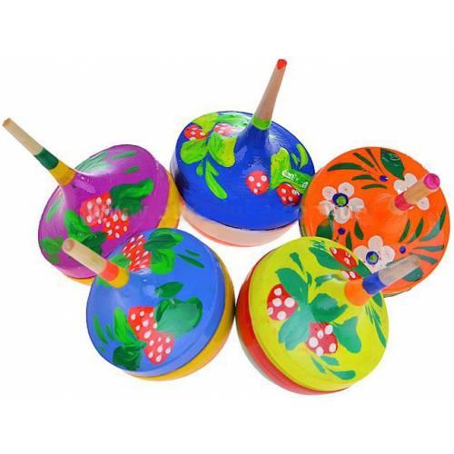 Деревянная игрушка Волчок круглый с росписью  RNTOYS Д-091