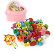 Деревянная игрушка Шнуровка в шкатулке-сердце, большой набор MD-0344