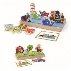 Игровой набор Viga Toys Пространство и расстояние: ферма, море двусторонний 50183