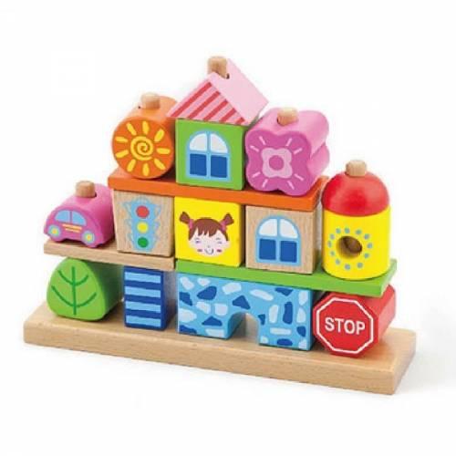 Деревянная игрушка  Набор кубиков Viga Toys Город 50043