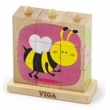 Деревянная игрушка  Пазл-пирамидка Viga Toys Насекомые 50158