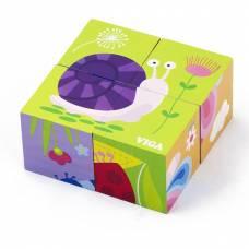 Деревянная игрушка  Пазл-кубики Viga Toys Насекомые 50160