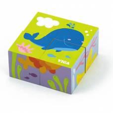 Деревянная игрушка  Пазл-кубики Viga Toys Подводный мир 50161