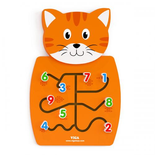 Деревянная игрушка  Настенная игрушка Viga Toys Кот с цифрами 50676