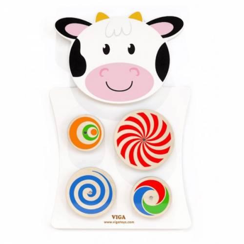 Деревянная игрушка  Игрушка настенная Viga Toys Корова с кругами 50677
