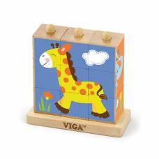 Деревянная игрушка  Пазл-кубики вертикальный Viga Toys Сафари 50834