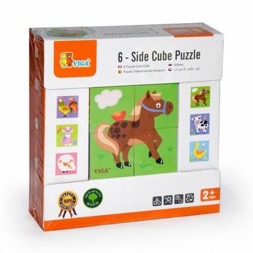 Деревянная игрушка  Пазл-кубики Viga Toys Ферма 50835