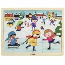 Деревянная игрушка  Пазл Viga Toys Времена года. Зима 51272