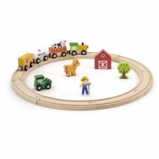 Деревянная игрушка  Игровой набор Viga Toys Железная дорога, 19 деталей 51615