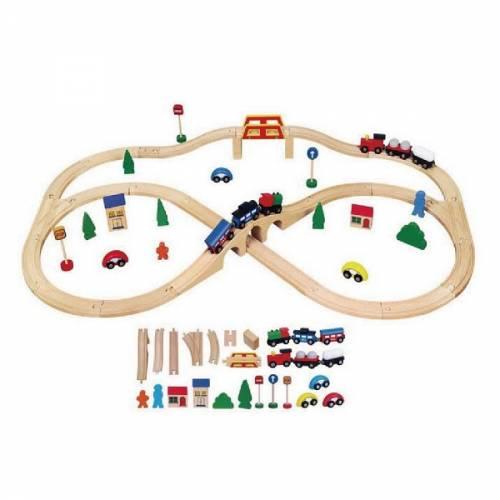 Деревянная игрушка  Игрушка Viga Toys Железная дорога, 49 деталей 56304