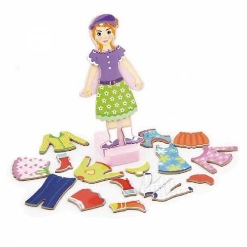 Деревянная игрушка  Набор магнитов Viga Toys Гардероб девочки 59652