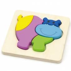Деревянная игрушка  Мини-пазл Viga Toys Бегемот 59932