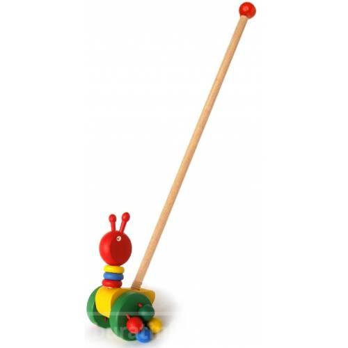 Деревянная игрушка Каталка Гусеничка Wooden Toys 02-1487-2
