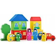 Деревянная игрушка Конструктор Цветной городок синий ТОМИК 8688-6